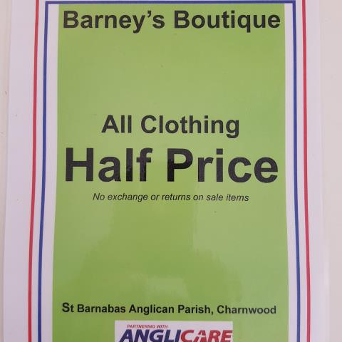 half price sale sign, Barney's Boutique